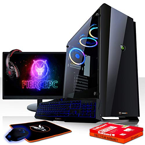Fierce Enforcer High-End RGB Gaming PC Bundeln - 3.9GHz Hex-Core AMD Ryzen 5 2600, 1TB SSHD, 8GB, NVIDIA GeForce RTX 2070 8GB, Tastatur (QWERTY), Maus, 24-Zoll-Monitor, Headset 979937