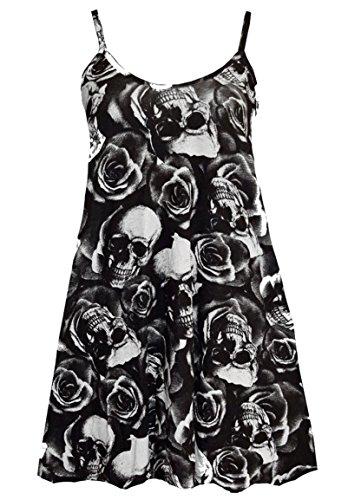 N&L Private LTD - Robe - Robe de swing - Femme Noir Noir Noir - Skull Rose