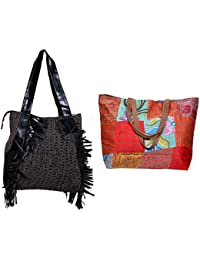 Indiweaves Combo Pack Of 1 Silk Kantha Beach Bags Bag And 1 Cotton Shopper Bag (Pack Of 2) 82100-134286-IW-P2