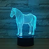 Leisurely Lazy Animal Unicorn Shape 3D Optical Illusion Lamp 7 Colors Change Touch Button and 15 Keys Remote Control LED Night Light Perfect Gifts Toys for Children Kids