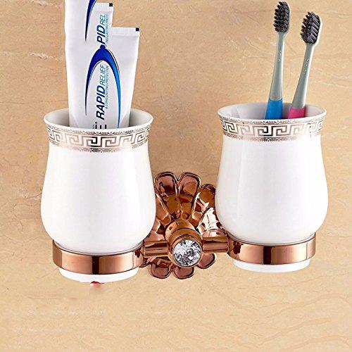 Accessoires de Salle de Bain/Ensembles d'accessoires/Diamant Or Rose cuivre Européen Costume Accessoires de Salle de Bain Barre de Serviette,Double Cup