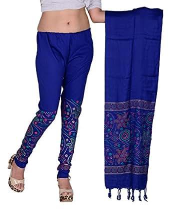 Snija Fashion Women's Dupatta with Leggings (PRDL2104BL_Blue_X-Large)