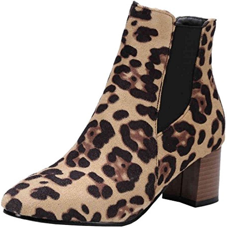 sjjh bottines à mi chunky talon et arrondie arrondie arrondie toe femmes bottes avec Noir  / leopard et plus b077gw6x33 parent | Nous Avons Gagné Les éloges De Clients  f2b6a7