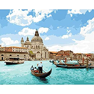 DIY Oil Painting, Paint by Number Kit for Home Wall Decoration Art Gift The pearl of The Adriatic Sea 16*20 Inch