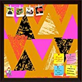 ArtzFolio Mixed Triangled 1 Printed Bulletin Board Notice Pin Board cum Dark Brown Framed Painting 12 x 12inch