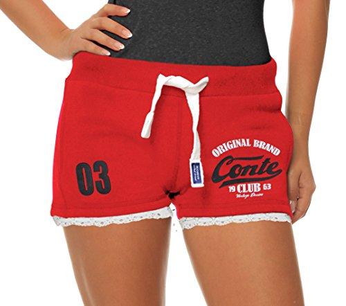 M.Conte Damen Jersey-Shorts Basic Skinni Fit Sport-Shorts/Training Retro-Shorts Kurze Damen-Hose Pants Jogginghose Sporthose Blau Neon Pink Weiss Rot S M L XL (S, Rot Red)