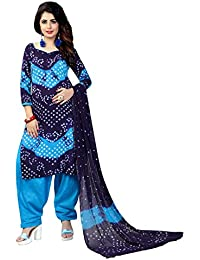 Taboody Empire Agreeable Blue Satin Cotton Handi Crafts Bandhani Work With Straight Salwar Suit For Girls And...