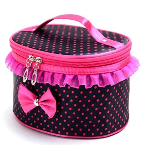 Beauty Case, Culater® portatile toilette Viaggi trucco cosmetico del sacchetto del supporto dell'organizzatore borsa (Nero)