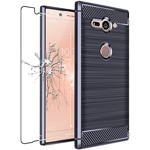 ebestStar - Sony Xperia XZ2 Compact Hülle Kohlenstoff Design Schutzhülle, TPU Handyhülle Flex Silikon Case, Dunkelblau + Panzerglas Schutzfolie [Phone: 135 x 65 x 12.1mm, 5.0'']