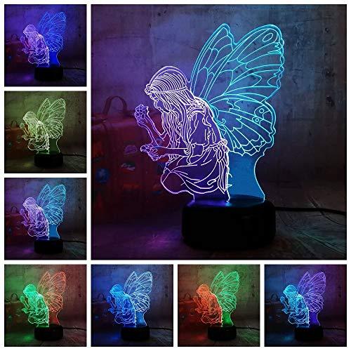Beauty Mix Farben Fee Schmetterling 3D Cartoon Geschenk LED Nachtlampe SCHÖNHEITSLICHT Geschenk für Mädchen Kinder Dekoration Glitter, Remote 7 Farbe