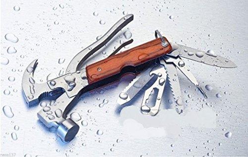 La Petite Caverne- Marteau Multifonction Arrache-Clous Couteau Pince Scie Camping Chasse Peche