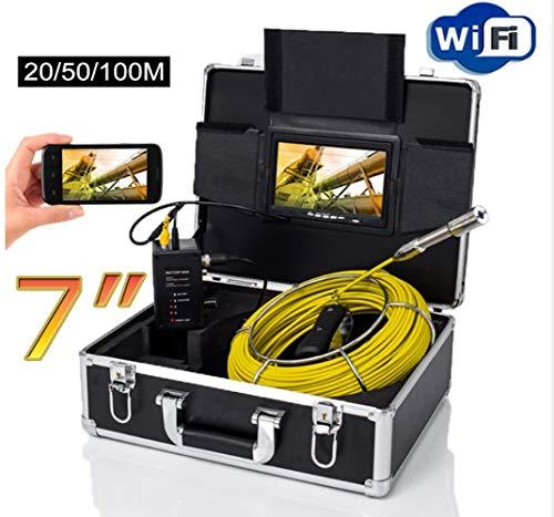 """ZHANG 7\""""Wireless WiFi 20/50/100M cámara de inspección de la Pipa de vídeo, Drenaje alcantarilla tubería Industrial endoscopio Apoyo Android/iOS,50M"""