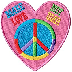 Parche para planchar, Make Love Not War, forma de corazón