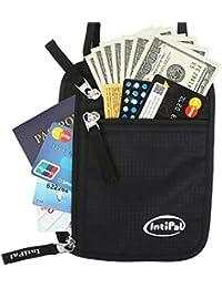 Bolsa de viaje cuello pasaporte Holder–IntiPal bloqueo RFID cartera de cuello–Hidden fundas para proteger su Tarjetas, dinero, pasaporte, funda para teléfono y documentos