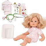Götz 1816063 Cosy Aquini ALS Doktor Badepuppe - Puppe mit blonden Haaren, Blauen Schlafaugen in Einem 47-teiligen Set - 33 cm Mädchen-Babypuppe