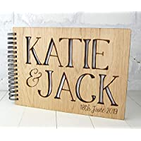 Wedding Guest Book, Alternative Wood cover Personalised Book