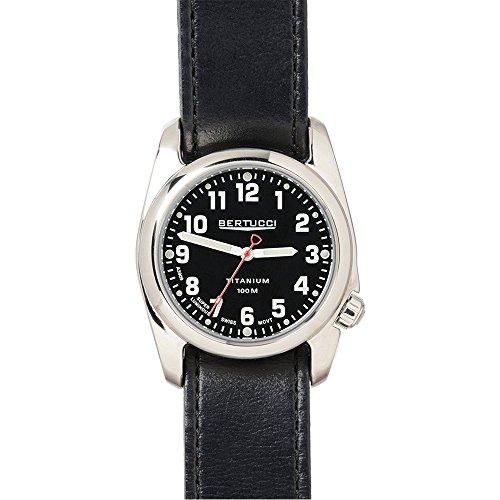 Bertucci 12091fascia da uomo, in pelle nera, quadrante nero orologio intelligente