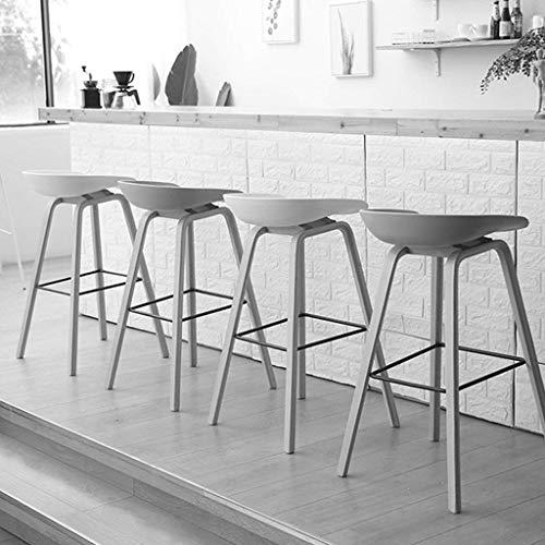 Wisdom Moderner minimalistischer Barhocker Vollholzbarhocker kreativer Barstuhl beiläufiger Designerhocker Nordischer Vorderschreibtischstuhl,Hellgrau