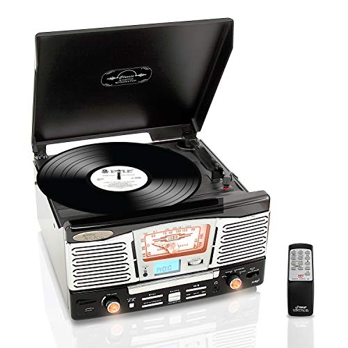 PYLEHOME PTCD8UB RETRO STYLE TURNTABLE WITH CD/RADIO/USB/SD/MP3/WMA