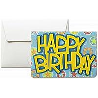 Happy Birthday- cumpleaños - 3d birthday - tarjeta de felicitación y sobres (formato 10,5 x 15 cm) - vacío por dentro, ideal para su mensaje personal - totalmente artesanal.
