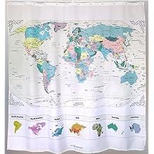 Mapa del mundo de la cortina de ducha con cita inspiradora. Las ciudades principales detalladas. Sin PVC, tela impermeable no tóxico y sin olor. Amplio mapa topográfico Decoración del hogar 71'x71 '.