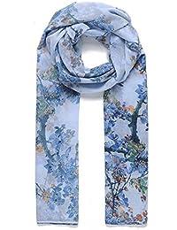 Blossom Floral Design Scarf in Light Blue Ladies Fashion Scarves