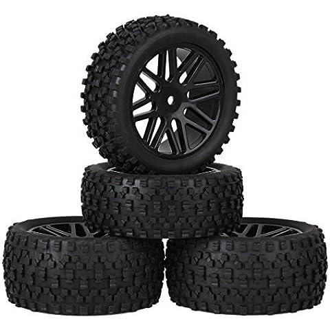 Youzone Negro de plástico 16 Spoke neumáticos de las ruedas Llantas + H Tipo de neumáticos de caucho para RC 1:10 Off Road Buggy de coches piezas de repuesto (paquete de