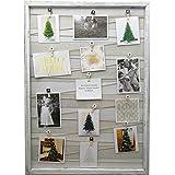 15 modelos de Marco de madera de pared con soporte de imagen de cuerda y pinzas pequeñas decoradas, portafotos de pinza vintage (Blanco roto, 52 x 72 cm)
