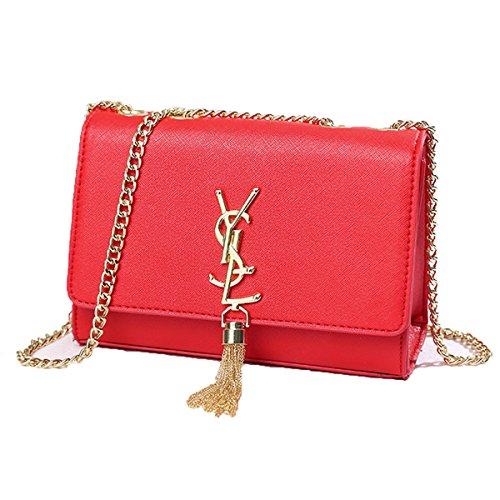 Sac à main d'été, avec bandoulière à chaîne et pompon, mini pochette, pour femme, 24x15,5x8cm, rouge1
