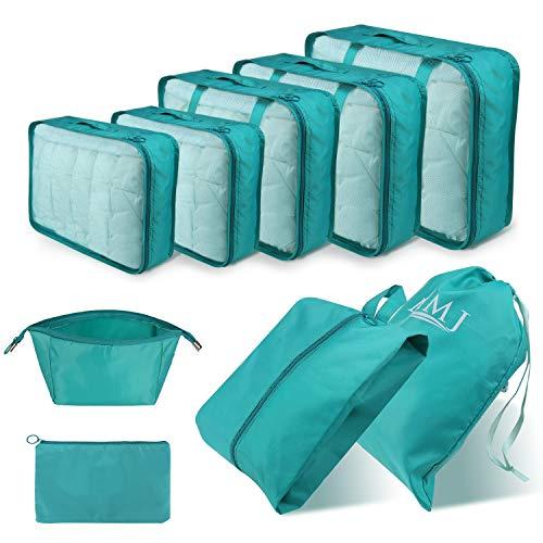 DIMJ Koffer Organizer 9 Teilig, mit 5 Packtaschen und EIN Kordelzugbeutel Schuhbeutel Kabel Aufbewahrungstasche Kosmetiktasche für Kofferorganizer Reise Würfel (Blau)