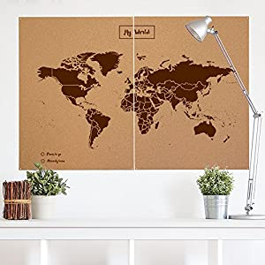 Miss Wood Map Mapa del Mundo de Corcho, Marrón, XXL (120x90cm)