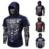 Elastisch Fitness Heren Outdoor Fake tweedelige Cyberpunk Ninja Suit Hooded Mask Riding T-shirt Slim Jogger Bodybuilding met lange mouwen Personality Coat (Color : Blue, Size : M)