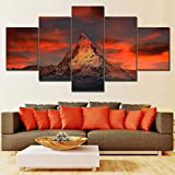 FYZKAY Bilder 5-teilig Leinwandbilder Poster Drucke Landschaft Wandkunst Schweiz Zermatt Matterhorn Leinwand Ölgemälde Wohnkultur Bild Wohnzimmer Rahmenlos