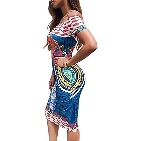 vestidos de las mujeres, FEITONG Mujeres africana tradicional de impresión de Dashiki bodycon atractivo del vestido de manga corta