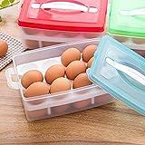 Ouneed® Eierbehälter , Double Layer Kühlschrank Lebensmittel 24 Eier luftdichten Vorratsbehälter Kunststoff Box (Rot)
