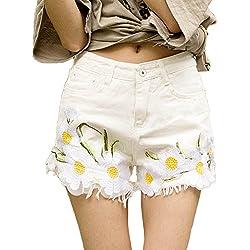Minetom Mujer Talle Alto Mezclilla Casual Jeans Shorts Mujeres Moda Rasgado Deshilachado Pantalones Cortos Dril Verano Borla Bordado Del Girasol Blanco ES 46/Cintura 86 cm