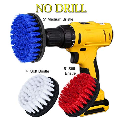 OxoxO 3 Piece Soft, Medium and Stiff Power Scrubbing Brush Drill Attachment for Cleaning Showers, Tubs, Bathrooms, Tile, Grout, Carpet, Tires, Boats -