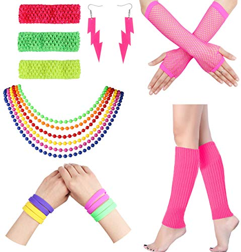 e Outfit Kostüm Zubehör Beinlinge Handschuhe Neon Ohrringe Armband Sets für 1980er Jahre Thema Party Supplies ()