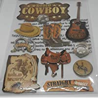Jot Pop Up/Dimensional Metallic Stickers - 10 Pieces - Rodeo Cowboy, Wild West, Straight Shooter, Guitar Boots Saddle
