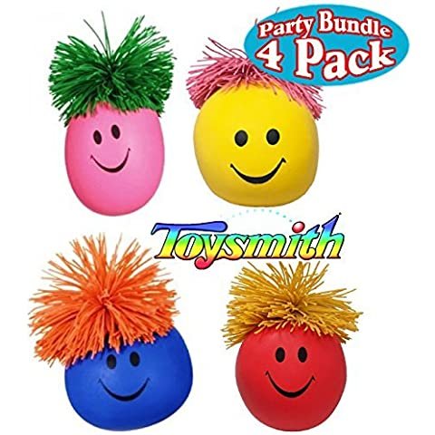 Toysmith Moody Face Stress Balls Red, Blue, Pink & Yellow Gift Set Party Bundle - by Toysmith