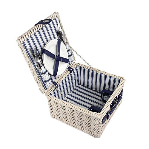 Quantio Weiden Picknick Korb 11-TLG. - für 2 Personen - 31 x 31 x 18,5 cm - blau/weiß gestreift - 2 Porzellan Teller, je 2X Messer, Gabel, Löffel, 2 Gläser