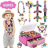 Tigerhu 630 PCS Pop Perlen, Snap Perlen Pop Beads für Kinder Mädchen Geschenke Spielzeug Bilden Schönheit Schmuck Kit Spielzeug DIY mit Prinzessin Box.