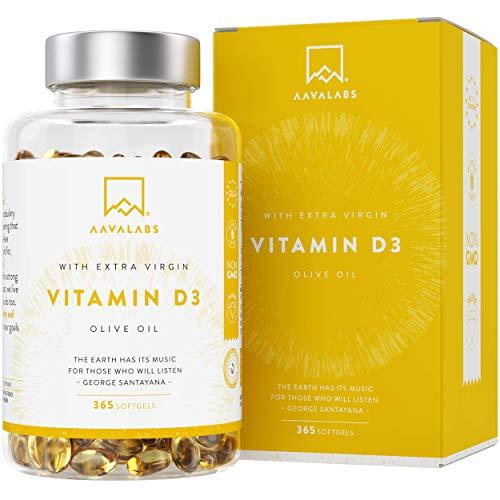 Vitamine D3 à Haute Concentration [5000 UI] - Avec de l'Huile d'Olive Extra Vierge our une Absorption Optimale - Sans OGM - Soutient les Fonctions Osseuse, Musculaire et Immunitaire - 365 Gélules
