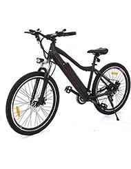 """aceshin Bicicleta Eléctrica de Montaña, Shimano 21 velocidad, Aluminio, Batería de Litio 36V 12A, Ruedas de 26"""""""