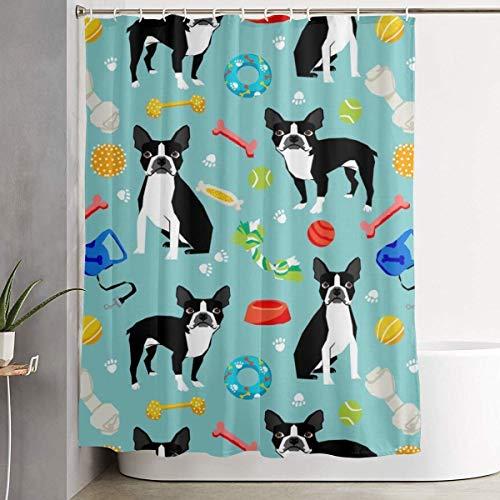 ANTOUZHE Duschvorhang,Duschvorhänge,Boston Terrier Toys Dog 60 x 72 Inch Shower Curtain Polyester Waterproof Bath Curtain Bathroom Decoration -