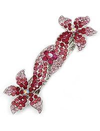 Pasador para novia con diamantes color magenta, 90mm de largo