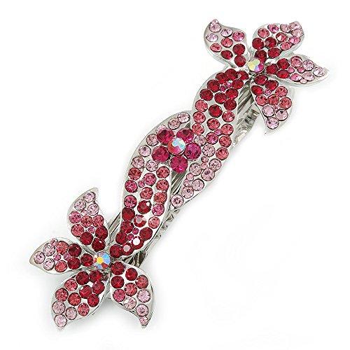 Haarspange, Silberton, Design: zweifache Blume, mit Kristallsteinen in Pink/Magenta, 90 mm, als Brautschmuck, zur Hochzeit, zum...