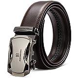 BOSTANTEN Men's Leather Ratchet Dress Belt with Automatic Sliding Buckle Belts Coffee