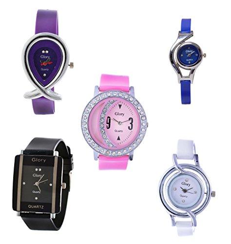 Xeno Combo of 5 Glory Diamond Studded Multi Color Women Analog Watch