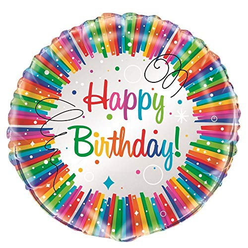 Unique Party- Globo Foil: Fiesta de Cumpleaños de Franja, Multicolor, 45 cm (49577)